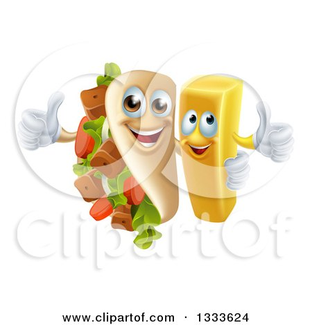 Clipart of a Cartoon Souvlaki Kebab Sandwich Mascot and French Fry Character Giving Thumbs up - Royalty Free Vector Illustration by AtStockIllustration