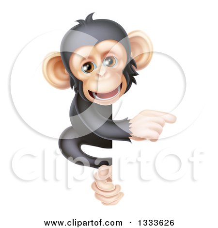 Clipart of a Cartoon Black and Tan Happy Baby Chimpanzee Monkey Pointing Around a Sign - Royalty Free Vector Illustration by AtStockIllustration