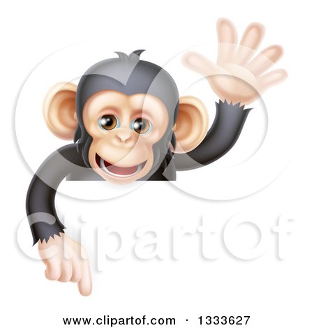 Clipart of a Cartoon Black and Tan Happy Baby Chimpanzee Monkey Waving and Pointing down over a Sign - Royalty Free Vector Illustration by AtStockIllustration