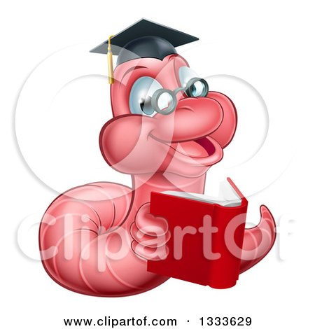 Clipart of a Cartoon Happy Pink Graduate Book Worm Reading - Royalty Free Vector Illustration by AtStockIllustration