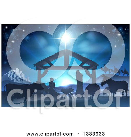 Clipart of a Blue Toned Nativity Scene with the Animals and Wise Men in the Distance and the City of Bethlehem - Royalty Free Vector Illustration by AtStockIllustration