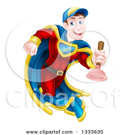 Clipart of a Cartoon Middle Aged Brunette White Male Plumber Super Hero Running with a Plunger - Royalty Free Vector Illustration by AtStockIllustration