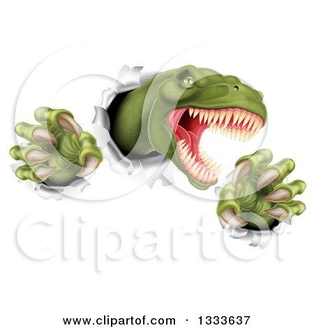 Clipart of a 3d Roaring Green Tyrannosaurus Rex Dinosaur Slashing Through Metal 2 - Royalty Free Vector Illustration by AtStockIllustration