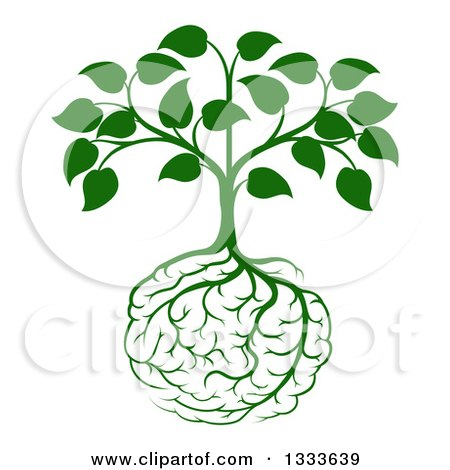 Clipart of a Leafy Green Heart Shaped Tree with Brain Roots - Royalty Free Vector Illustration by AtStockIllustration