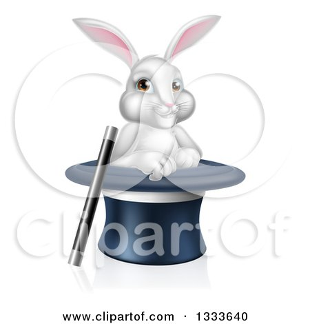 Clipart of a Cartoon Magic Trick Bunny Rabbit in a Hat with a Wand - Royalty Free Vector Illustration by AtStockIllustration