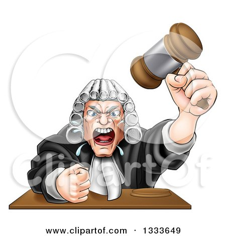 Clipart of a Cartoon Fierce Angry White Male Judge Spitting, Holding a Gavel and Slamming His Fist down - Royalty Free Vector Illustration by AtStockIllustration