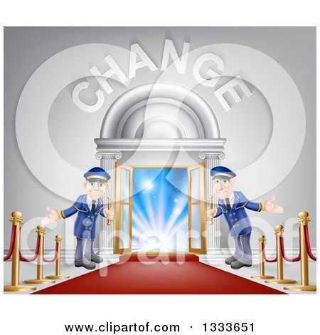 Clipart of Welcoming Door Men at an Entry with a Red Carpet and Posts Under Change Text - Royalty Free Vector Illustration by AtStockIllustration