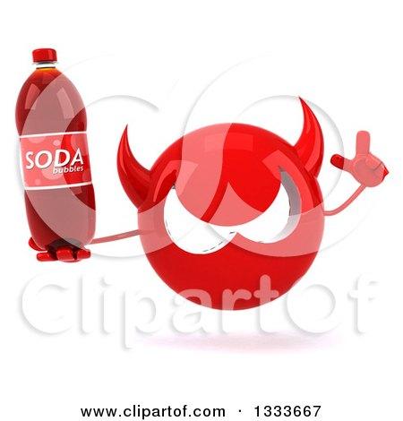 Clipart of a 3d Red Devil Head Holding up a Finger and a Soda Bottle - Royalty Free Illustration by Julos