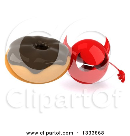 Clipart of a 3d Red Devil Head Holding up a Chocolate Glazed Donut - Royalty Free Illustration by Julos