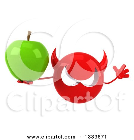 Clipart of a 3d Red Devil Head Jumping and Holding a Green Apple - Royalty Free Illustration by Julos