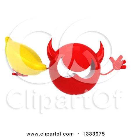 Clipart of a 3d Red Devil Head Jumping and Holding a Banana - Royalty Free Illustration by Julos