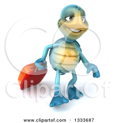 Clipart of a 3d Happy Blue Tortoise Turtle Traveler Walking with Rolling Luggage - Royalty Free Illustration by Julos