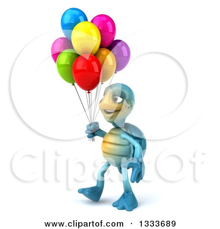 Clipart of a 3d Happy Blue Tortoise Turtle Walking to the Left and Holding Party Balloons - Royalty Free Illustration by Julos