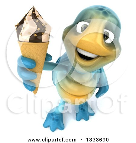 Clipart of a 3d Happy Blue Tortoise Turtle Holding up a Waffle Ice Cream Cone - Royalty Free Illustration by Julos
