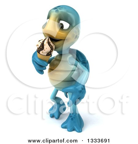 Clipart of a 3d Happy Blue Tortoise Turtle Walking Slightly Left and Eating a Waffle Ice Cream Cone - Royalty Free Illustration by Julos