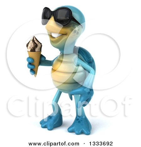 Clipart of a 3d Happy Blue Tortoise Turtle Wearing Sunglasses, Facing Slightly Left and Holding a Waffle Ice Cream Cone - Royalty Free Illustration by Julos