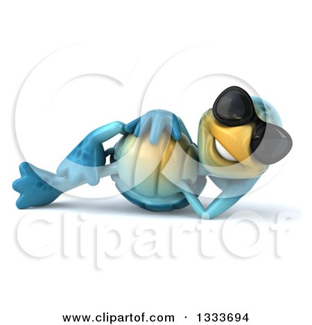 Clipart of a 3d Happy Blue Tortoise Turtle Wearing Sunglasses and Resting on His Side - Royalty Free Illustration by Julos