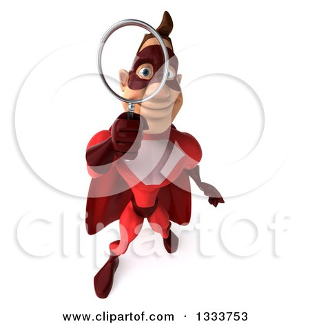 Clipart of a 3d Buff White Male Super Hero in a Red Suit, Looking up and Searching with a Magnifying Glass - Royalty Free Illustration by Julos