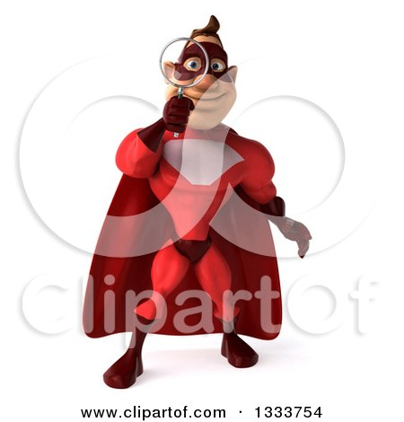 Clipart of a 3d Caucasian Red Super Hero Man Searching with a Magnifying Glass - Royalty Free Illustration by Julos