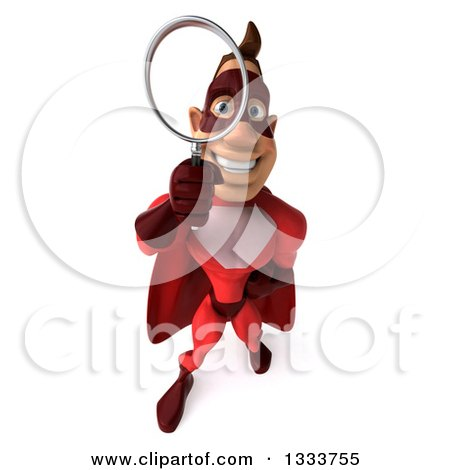 Clipart of a 3d Caucasian Red Super Hero Man Looking Up, Searching with a Magnifying Glass - Royalty Free Illustration by Julos