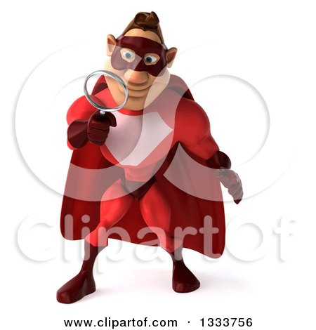 Clipart of a 3d Buff White Male Super Hero in a Red Suit, Searching with a Magnifying Glass - Royalty Free Illustration by Julos