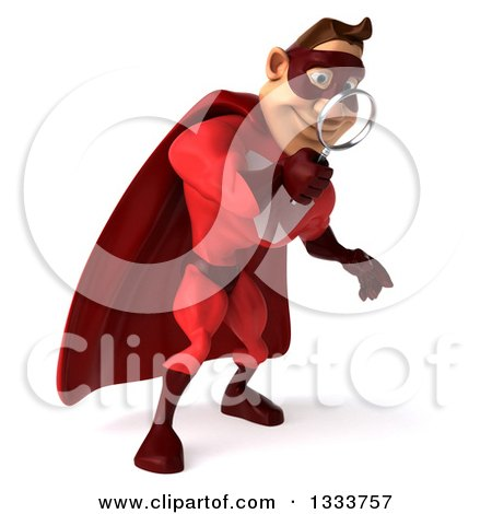 Clipart of a 3d Buff White Male Super Hero in a Red Suit, Searching, Looking down and Searching with a Magnifying Glass - Royalty Free Illustration by Julos