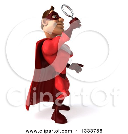 Clipart of a 3d Buff White Male Super Hero in a Red Suit, Facing Left, Looking up and Searching with a Magnifying Glass - Royalty Free Illustration by Julos