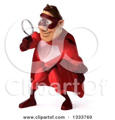 Clipart of a 3d Caucasian Red Super Hero Man Facing Slightly Left, Looking down and Searching with a Magnifying Glass - Royalty Free Illustration by Julos