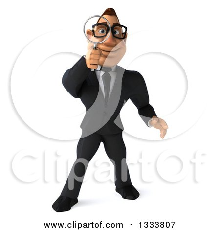 Clipart of a 3d Bespectacled Macho White Businessman Searching with a Magnifying Glass - Royalty Free Illustration by Julos