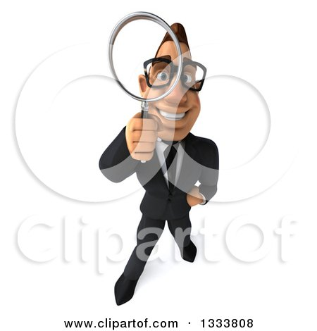 Clipart of a 3d Bespectacled Macho White Businessman Looking up and Searching with a Magnifying Glass - Royalty Free Illustration by Julos