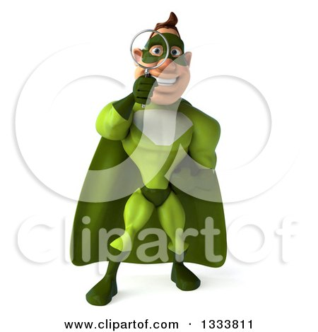 Clipart of a 3d Caucasian Green Super Hero Man Searching with a Magnifying Glass - Royalty Free Illustration by Julos
