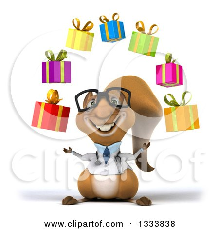 Clipart of a 3d Bespectacled Doctor or Veterinarian Squirrel Juggling Gifts - Royalty Free Illustration by Julos