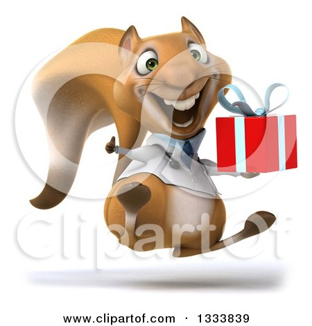 Clipart of a 3d Doctor or Veterinarian Squirrel Facing Slightly Right, Jumping, Giving a Thumb up and Holding a Gift - Royalty Free Illustration by Julos