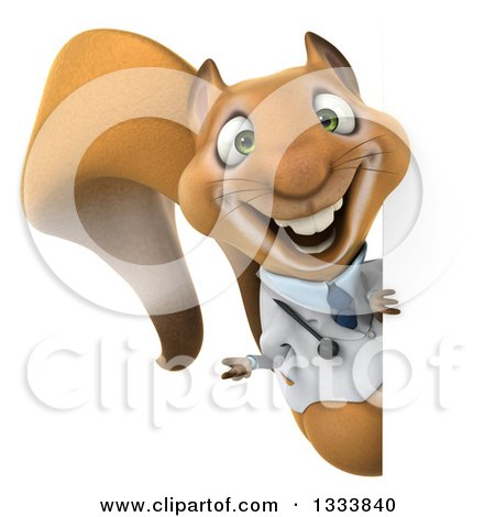 Clipart of a 3d Doctor or Veterinarian Squirrel Presenting Around a Sign - Royalty Free Illustration by Julos