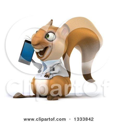Clipart of a 3d Doctor or Veterinarian Squirrel Facing Slightly Left and Talking on a Smart Phone - Royalty Free Illustration by Julos