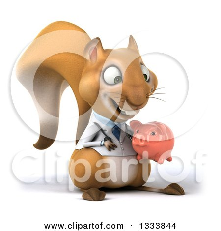 Clipart of a 3d Doctor or Veterinarian Squirrel Facing Slightly Right, Holding and Looking at a Piggy Bank - Royalty Free Illustration by Julos