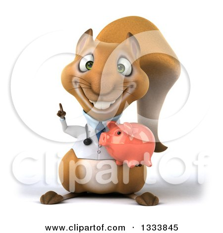 Clipart of a 3d Doctor or Veterinarian Squirrel Holding up a Finger and a Piggy Bank - Royalty Free Illustration by Julos