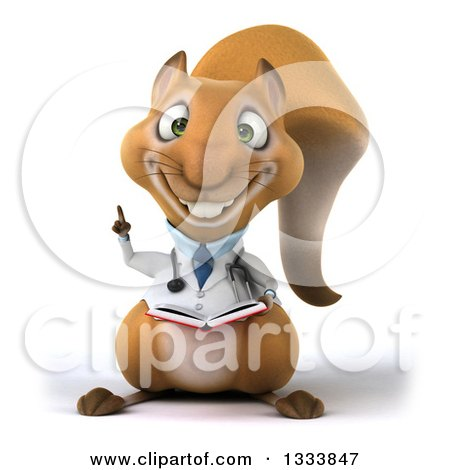 Clipart of a 3d Doctor or Veterinarian Squirrel Holding up a Finger and a Book - Royalty Free Illustration by Julos