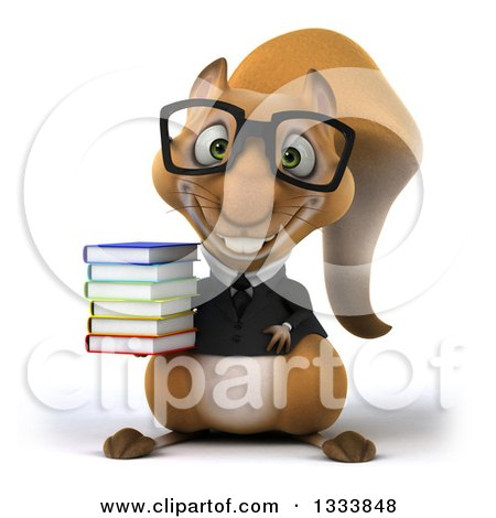 Clipart of a 3d Bespectacled Business Squirrel Holding a Stack of Books - Royalty Free Illustration by Julos