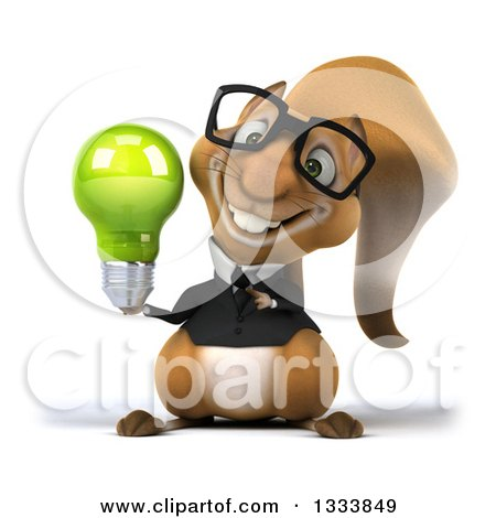 Clipart of a 3d Bespectacled Business Squirrel Holding and Pointing to a Green Light Bulb - Royalty Free Illustration by Julos