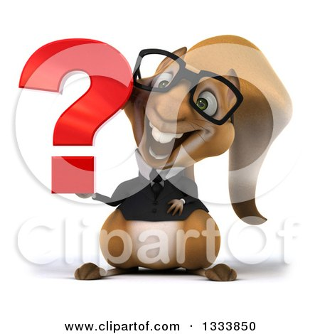 Clipart of a 3d Bespectacled Business Squirrel Holding a Question Mark - Royalty Free Illustration by Julos