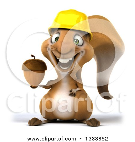 Clipart of a 3d Contractor Squirrel Wearing a Hardhat and Holding an Acorn - Royalty Free Illustration by Julos