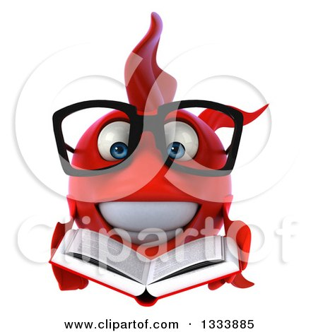 Clipart of a 3d Happy Bespectacled Red Fish Holding an Open Book - Royalty Free Illustration by Julos