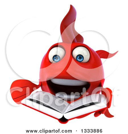 Clipart of a 3d Excited Red Fish Presenting and Reading a Book - Royalty Free Illustration by Julos