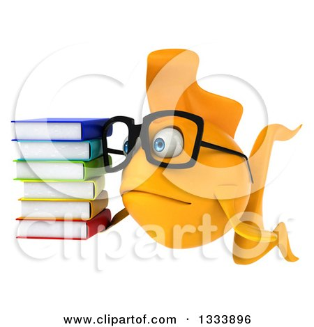 Clipart of a 3d Sad Yellow Fish Wearing Glasses, Facing Slightly Left and Holding a Stack of Books - Royalty Free Illustration by Julos