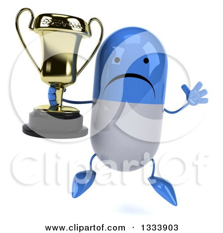Clipart of a 3d Unhappy Blue and White Pill Character Jumping and Holding a Trophy - Royalty Free Illustration by Julos