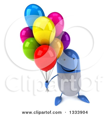 Clipart of a 3d Happy Blue and White Pill Character Holding up Party Balloons - Royalty Free Illustration by Julos