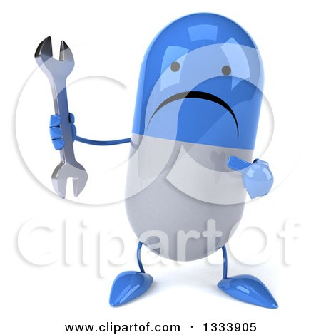 Clipart of a 3d Unhappy Blue and White Pill Character Holding and Pointing to a Wrench - Royalty Free Illustration by Julos