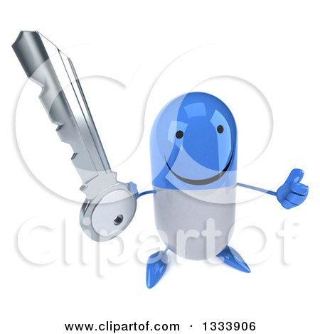 Clipart of a 3d Happy Blue and White Pill Character Holding up a Thumb and a Key - Royalty Free Illustration by Julos