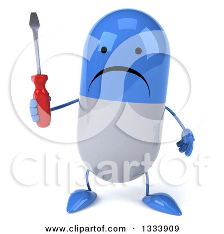 Clipart of a 3d Unhappy Blue and White Pill Character Holding a Screwdriver - Royalty Free Illustration by Julos